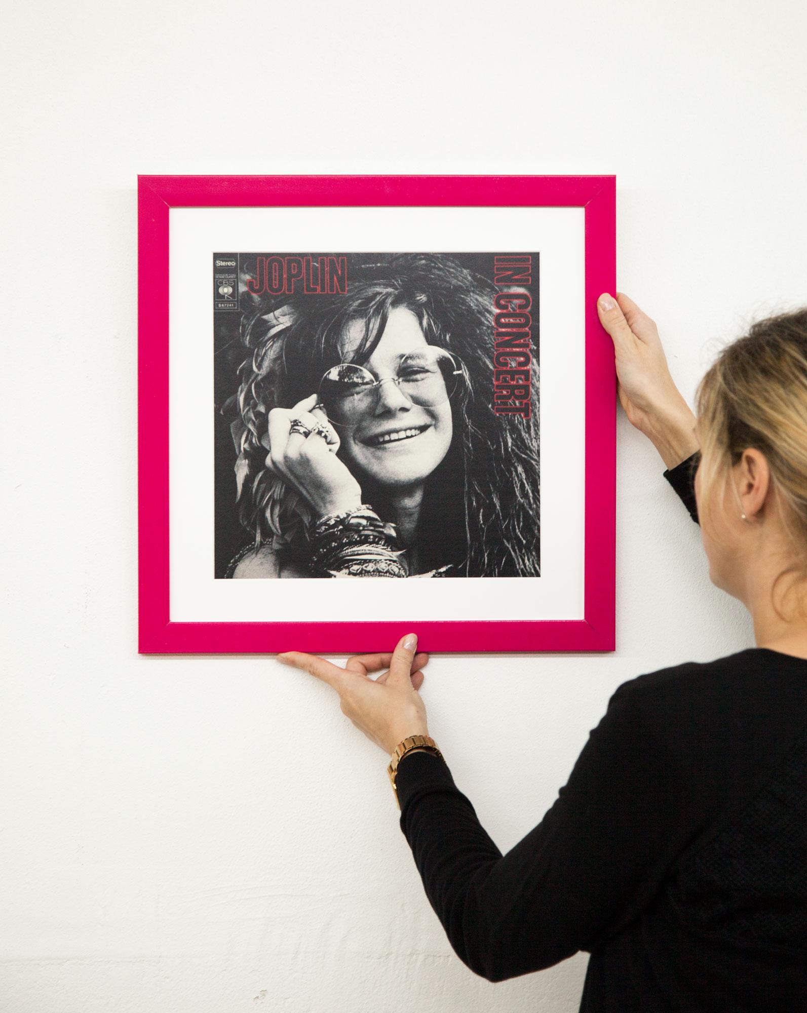 Vinyl LP Cover Janis Rahmen mit Passepartout und Echtglas für ...