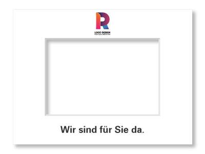 Passepartout mit Text und Logo bedruckt